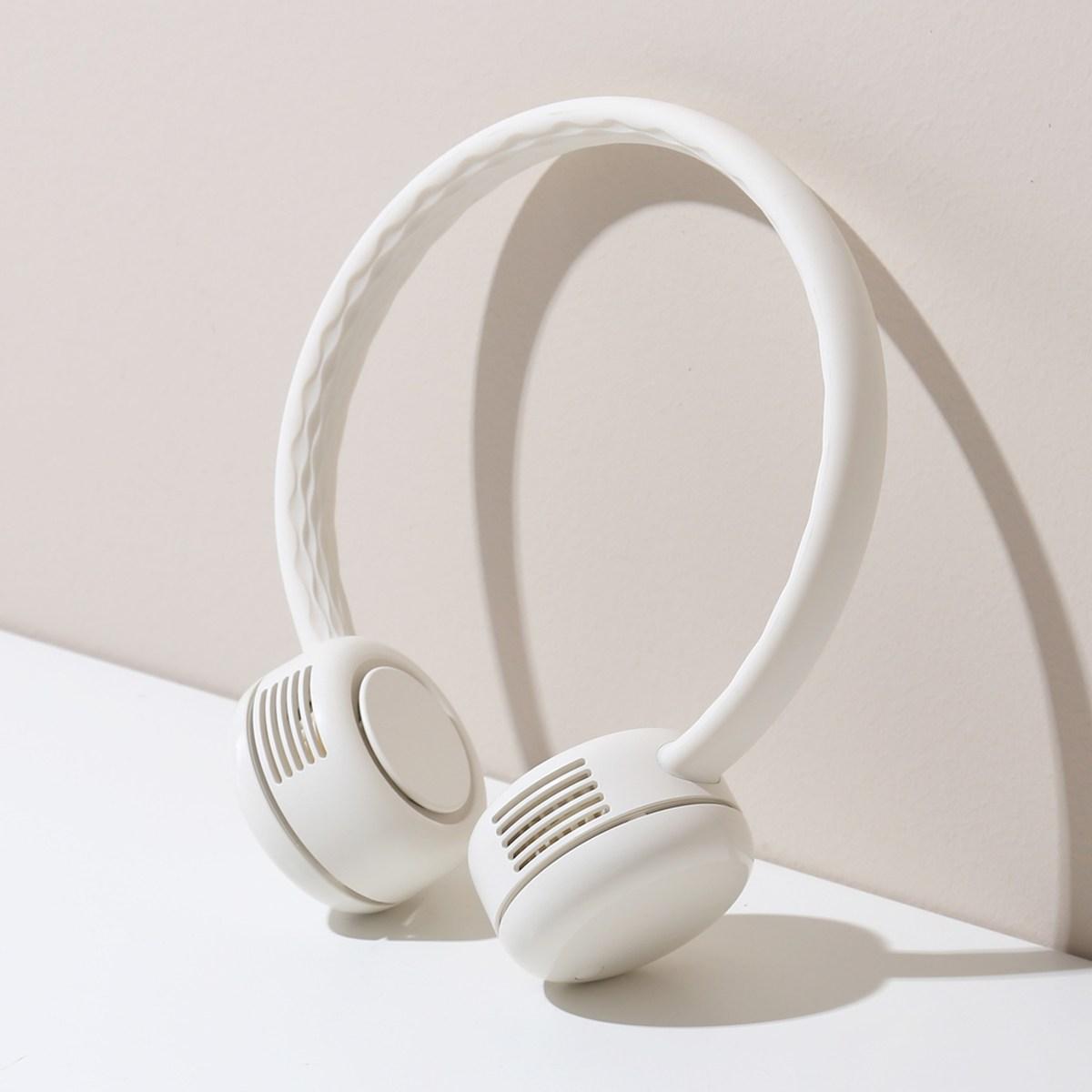 단순생활 넥밴드 휴대용 선풍기, 01 크림화이트