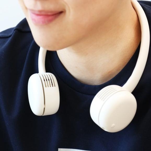 단순생활 날개 없는 목걸이 넥밴드 휴대용 미니 선풍기 단품, 크림 화이트