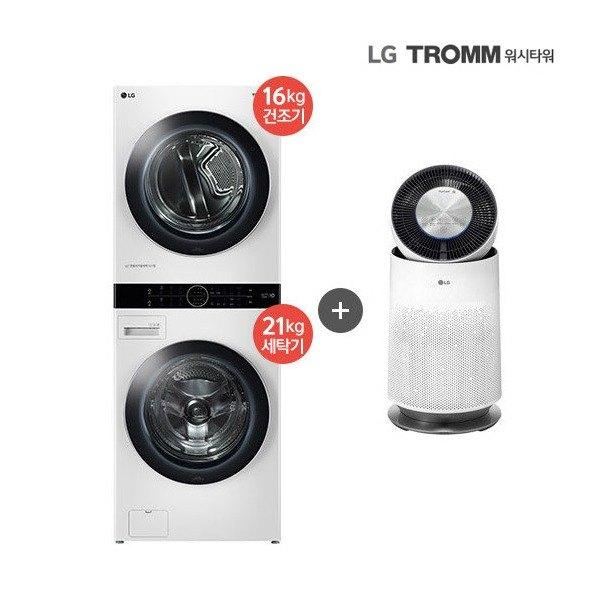 [LG전자] [1등급] LG 워시타워 화이트 (W16WT) 건조기 16KG + 드럼세탁기, 상세 설명 참조